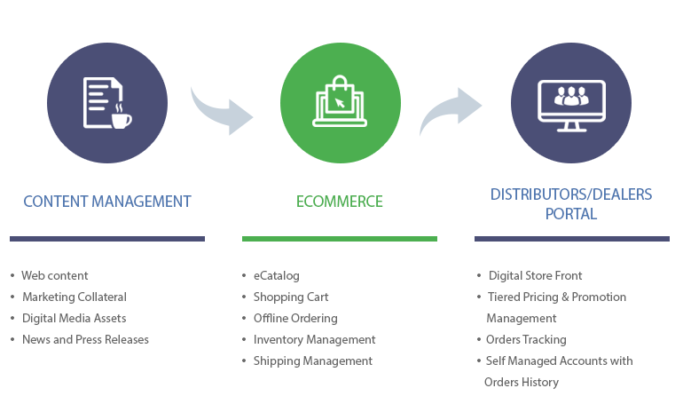 Convergence of Content Management, Ecommerce and Distributors Portal